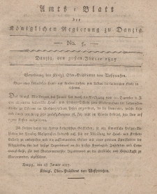 Amts-Blatt der Königlichen Regierung zu Danzig, 30. Januar 1817, Nr. 5