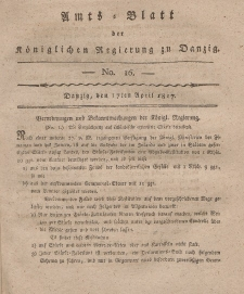 Amts-Blatt der Königlichen Regierung zu Danzig, 17. April 1817, Nr. 16