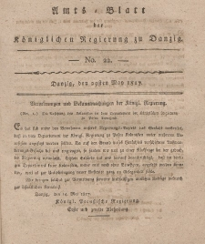 Amts-Blatt der Königlichen Regierung zu Danzig, 29. Mai 1817, Nr. 22