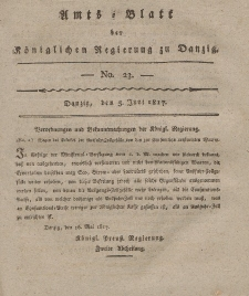 Amts-Blatt der Königlichen Regierung zu Danzig, 5. Juni 1817, Nr. 23