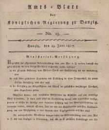 Amts-Blatt der Königlichen Regierung zu Danzig, 19. Juni 1817, Nr. 25