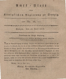 Amts-Blatt der Königlichen Regierung zu Danzig, 26. Juni 1817, Nr. 26