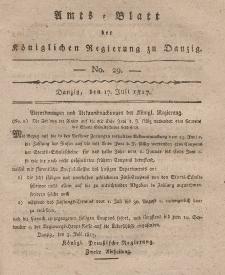 Amts-Blatt der Königlichen Regierung zu Danzig, 17. Juli 1817, Nr. 29