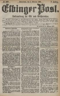 Elbinger Post, Nr. 237, Sonnabend 9 Oktober 1880, 7 Jahrg.