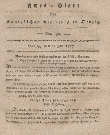 Amts-Blatt der Königlichen Regierung zu Danzig, 24. Juli 1817, Nr. 30