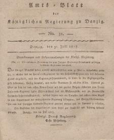 Amts-Blatt der Königlichen Regierung zu Danzig, 31. Juli 1817, Nr. 31
