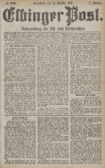Elbinger Post, Nr. 243, Sonnabend 16 Oktober 1880, 7 Jahrg.