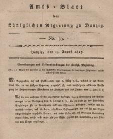 Amts-Blatt der Königlichen Regierung zu Danzig, 14. August 1817, Nr. 33