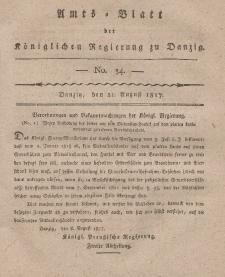Amts-Blatt der Königlichen Regierung zu Danzig, 21. August 1817, Nr. 34