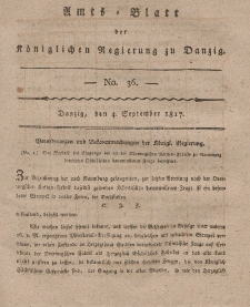 Amts-Blatt der Königlichen Regierung zu Danzig, 4. September 1817, Nr. 36