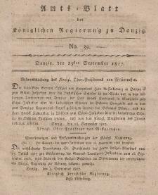 Amts-Blatt der Königlichen Regierung zu Danzig, 25. September 1817, Nr. 39