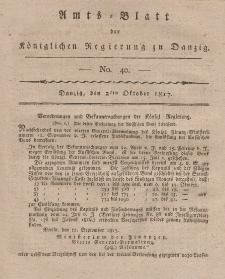 Amts-Blatt der Königlichen Regierung zu Danzig, 2. Oktober 1817, Nr. 40