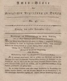 Amts-Blatt der Königlichen Regierung zu Danzig, 20. November 1817, Nr. 47