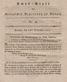 Amts-Blatt der Königlichen Regierung zu Danzig, 27. November 1817, Nr. 48