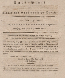 Amts-Blatt der Königlichen Regierung zu Danzig, 4. Dezember 1817, Nr. 49