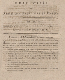 Amts-Blatt der Königlichen Regierung zu Danzig, 18. Dezember 1817, Nr. 51