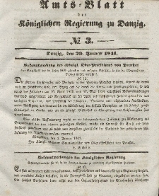 Amts-Blatt der Königlichen Regierung zu Danzig, 20. Januar 1841, Nr. 3