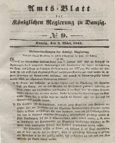 Amts-Blatt der Königlichen Regierung zu Danzig, 3. März 1841, Nr. 9