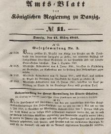 Amts-Blatt der Königlichen Regierung zu Danzig, 17. März 1841, Nr. 11