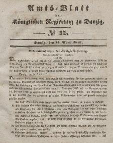 Amts-Blatt der Königlichen Regierung zu Danzig, 14. April 1841, Nr. 15