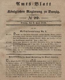 Amts-Blatt der Königlichen Regierung zu Danzig, 2. Juni 1841, Nr. 22