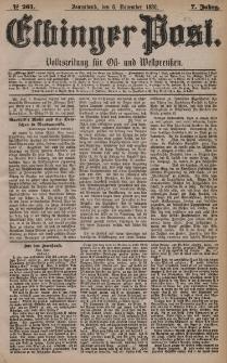Elbinger Post, Nr. 261, Sonnabend 6 November 1880, 7 Jahrg.