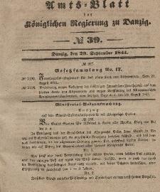 Amts-Blatt der Königlichen Regierung zu Danzig, 29. September 1841, Nr. 39