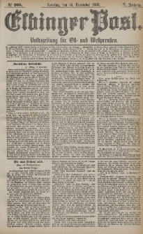 Elbinger Post, Nr. 268, Sonntag 14 November 1880, 7 Jahrg.