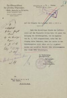 Der Oberpräsident der Provinz Ostpreußen (4a. L. V. I a VI/La/Se)
