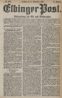 Elbinger Post, Nr. 272, Freitag 19 November 1880, 7 Jahrg.