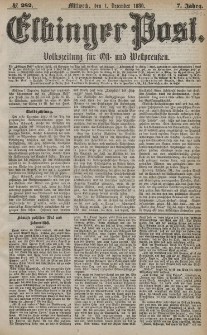 Elbinger Post, Nr. 282, Mittwoch 1 Dezember 1880, 7 Jahrg.