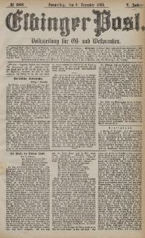 Elbinger Post, Nr. 293, Dienstag 14 Dezember 1880, 7 Jahrg.