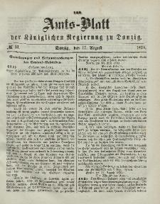 Amts-Blatt der Königlichen Regierung zu Danzig, 17. August 1870, Nr. 33