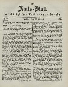 Amts-Blatt der Königlichen Regierung zu Danzig, 24. August 1870, Nr. 34