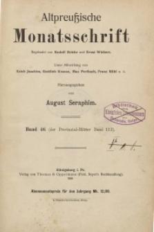 Altpreußische Monatsschrift, 1909, Bd. 46