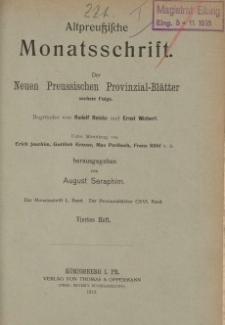 Altpreußische Monatsschrift, 1913, Bd. 50, H. 4