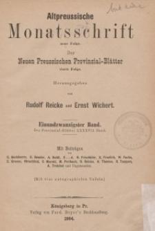 Altpreussische Monatsschrift, 1884, Bd. 21