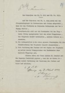 Zum Schreiben vom 28.09.1933 r. und 29.10.1933 r.