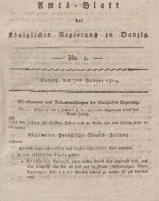 Amts-Blatt der Königlichen Regierung zu Danzig, 7. Januar 1819, Nr.1