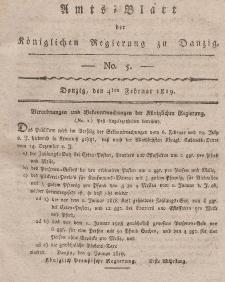 Amts-Blatt der Königlichen Regierung zu Danzig, 4. Februar 1819, Nr. 5