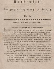 Amts-Blatt der Königlichen Regierung zu Danzig, 18. Februar 1819, Nr. 7