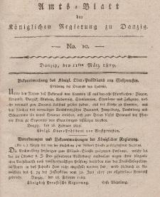 Amts-Blatt der Königlichen Regierung zu Danzig, 11. März 1819, Nr. 10