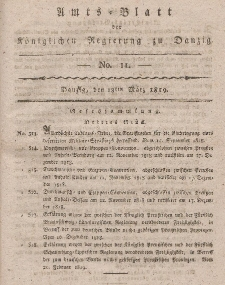 Amts-Blatt der Königlichen Regierung zu Danzig, 18. März 1819, Nr. 11