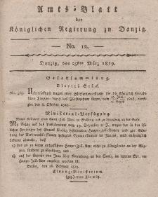 Amts-Blatt der Königlichen Regierung zu Danzig, 25. März 1819, Nr. 12