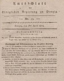 Amts-Blatt der Königlichen Regierung zu Danzig, 1. April 1819, Nr. 13