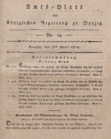 Amts-Blatt der Königlichen Regierung zu Danzig, 8. April 1819, Nr. 14