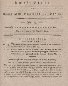 Amts-Blatt der Königlichen Regierung zu Danzig, 15. April 1819, Nr. 15