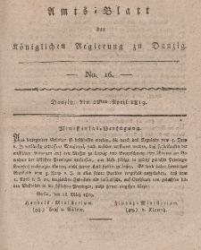 Amts-Blatt der Königlichen Regierung zu Danzig, 22. April 1819, Nr. 16