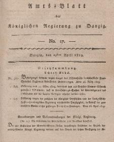 Amts-Blatt der Königlichen Regierung zu Danzig, 29. April 1819, Nr. 17