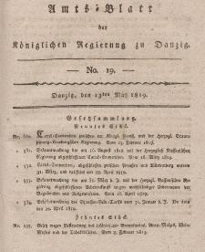 Amts-Blatt der Königlichen Regierung zu Danzig, 13. Mai 1819, Nr. 19